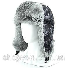 Зимняя мужская шапка ушанка из натурального меха SU35
