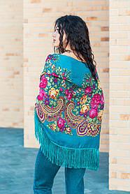 Красивый женский платок с народным орнаментом LEONORA бирюзовый 140*140 с бахромой