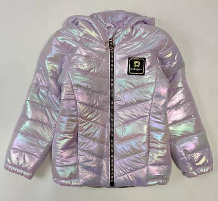 Детская демисезонная куртка для девочки сиреневая 5-6 лет, фото 2