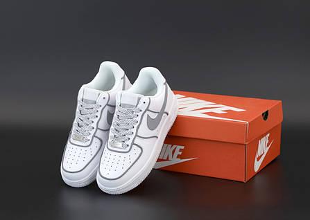 Женские кроссовки Nike Air Force white. Рефлектив. ТОП Реплика ААА класса., фото 2