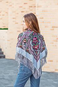 Шерстяной женский платок на плечи и на голову красивый цветастый LEONORA серого цвета