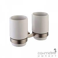 Аксессуары для ванной комнаты Kraus Пара керамических стаканов с настенным держателем Kraus Amnis KEA-11116 BN сатин