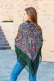 Красивый женский большой платок на плечи украинский с бахромой LEONORA зеленого цвета