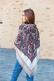 Модный женский большой платок на плечи с цветами и бахромой LEONORA бежевого цвета