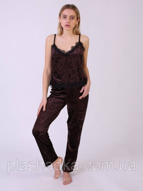 Serenade 5074-vi піжама велюр коричнева Serenade (S)