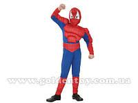 """Карнавальный костюм """"Спайдермен"""" S/M/L (110-140см) комбинезон с мышцами и поясом/маска"""