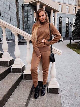 Костюм женский теплый вязаный штаны и кофта под горло, фото 2