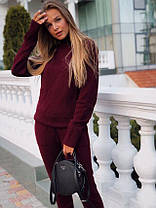 Костюм женский теплый вязаный штаны и кофта под горло, фото 3