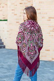 Женский платок на голову нарядный большой в цветах LEONORA с бахромой бордового цвета