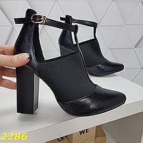 Ботинки с узким носком на широком каблуке с резинкой, фото 3