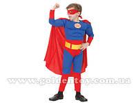 """Карнавальный костюм """"Супермен"""", S/M/L (110-140см), комбинезон с мышцами и поясом /маска/плащ"""
