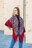 Нарядный шерстяной платок женский с красивыми цветами большой LEONORA красного цвета, фото 2