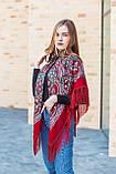 Нарядный шерстяной платок женский с красивыми цветами большой LEONORA красного цвета, фото 4