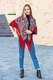 Нарядный шерстяной платок женский с красивыми цветами большой LEONORA красного цвета, фото 3