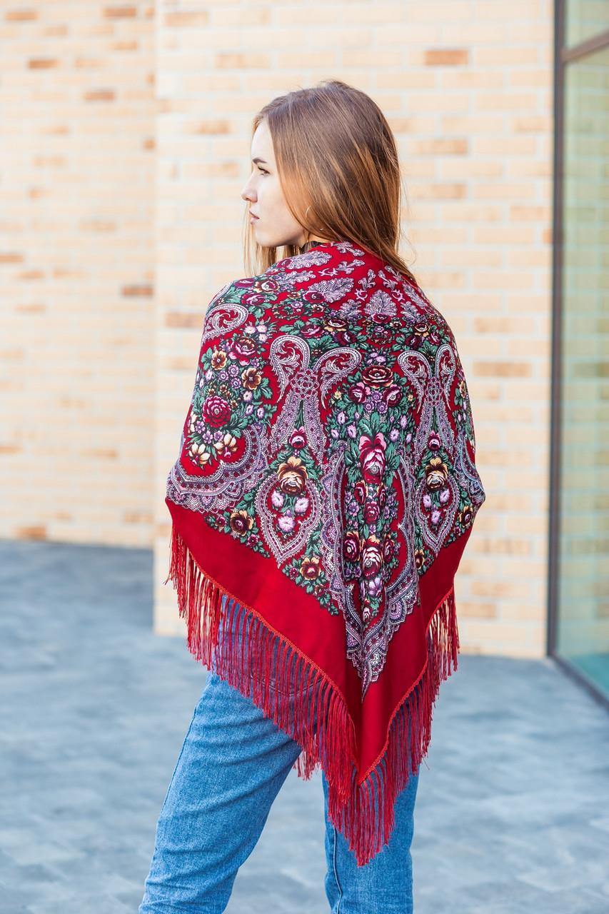Нарядный шерстяной платок женский с красивыми цветами большой LEONORA красного цвета