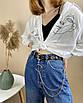 Женский эко-кожаный ремень с двойной цепочкой люверсами дырками заклепками унисекс, фото 5