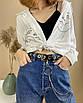 Женский эко-кожаный ремень с двойной цепочкой люверсами дырками заклепками унисекс, фото 6
