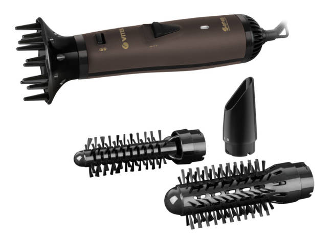 Фен-щетка для укладки волос VITEK VT-8241 4 насадки 1000 Вт Коричневый, фото 2