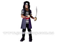"""Карнавальный костюм """"Пират"""" S/M/L (110-140см), рукава с тату/рубашка/жилет с поясом/штаны/головной убор"""