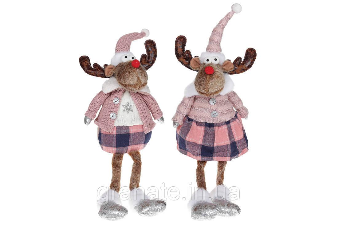 Мягкая новогодняя игрушка Олень, 62см, 2 вида, цвет - розовый