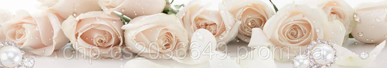 Стеклянный фартук для кухни - скинали Розы