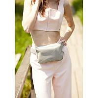 Шкіряна жіноча поясна сумка Dropbag Mini сіра