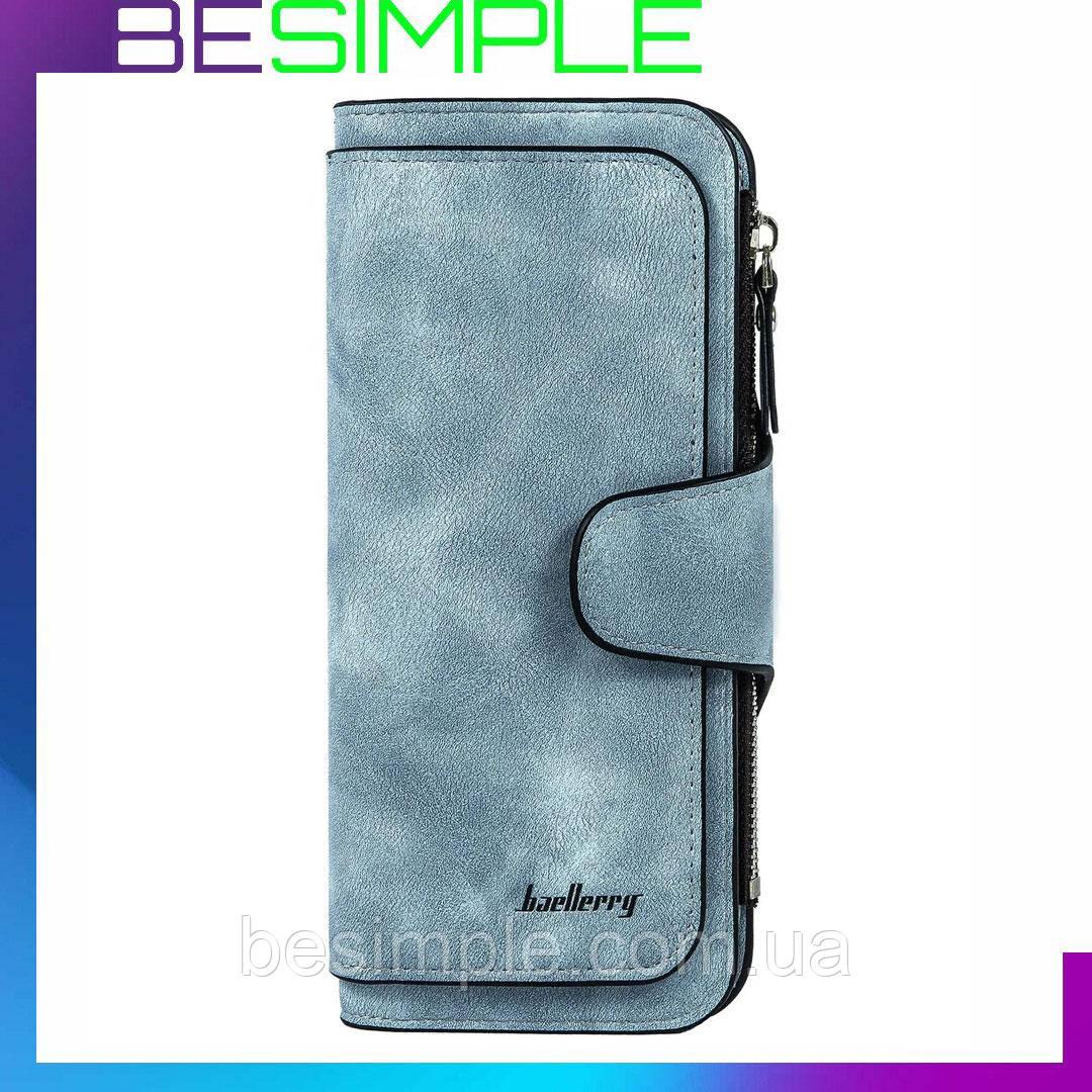 Женский замшевый кошелек клатч Baellerry Forever / Женское портмоне (19 х 10,5 х 2 см) Голубой