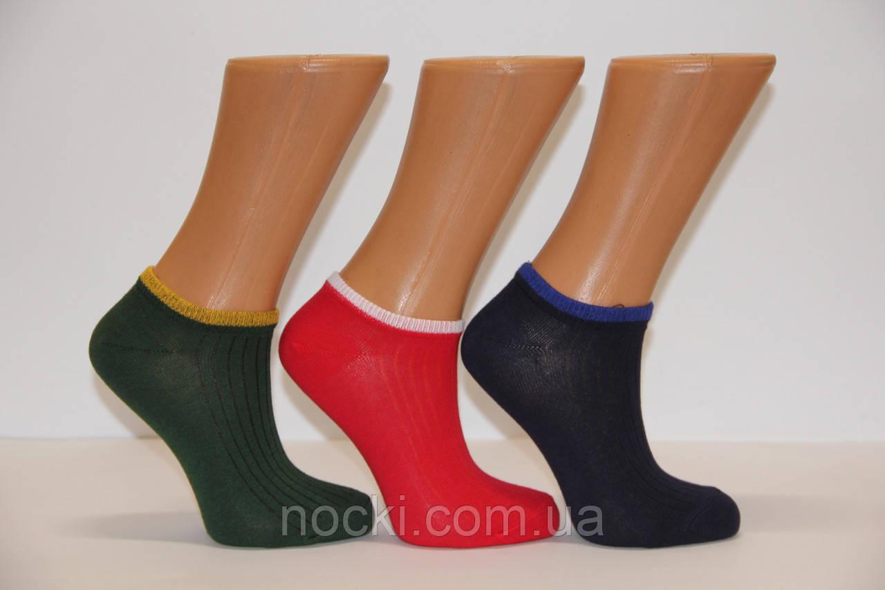 Женские носки короткие с хлопка в рубчик НЛ   цветные в рубчик
