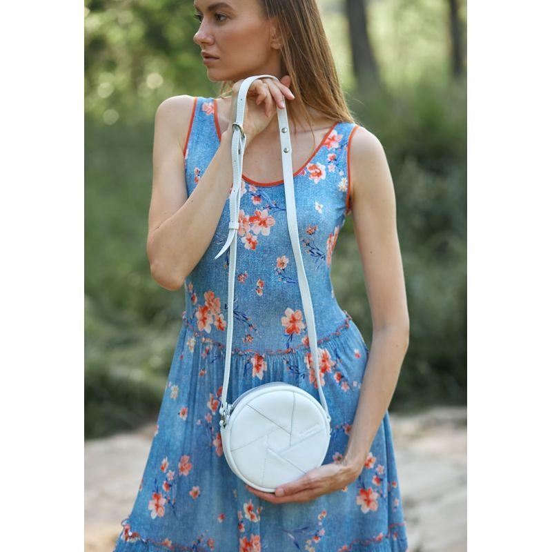 Кожаная круглая женская сумка Бон-Бон белая