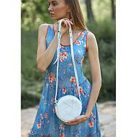 Кожаная круглая женская сумка Бон-Бон белая, фото 1