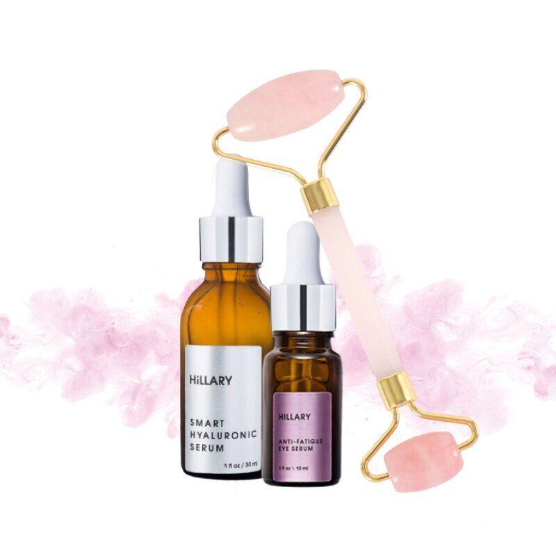 Массажный роллер для лица из розового кварца + 2 сыворотки