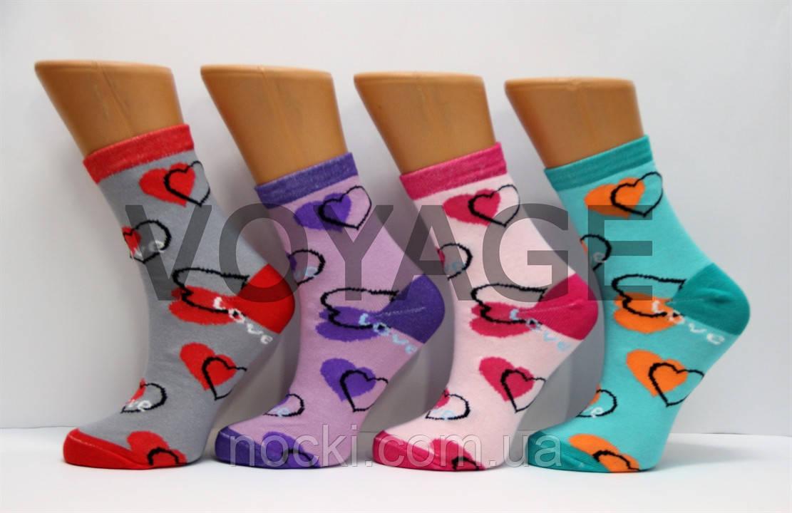 Жіночі шкарпетки високі стрейчеві з бавовни компютерні STYLE LUXE КЛ kjv kjsv 128 серця