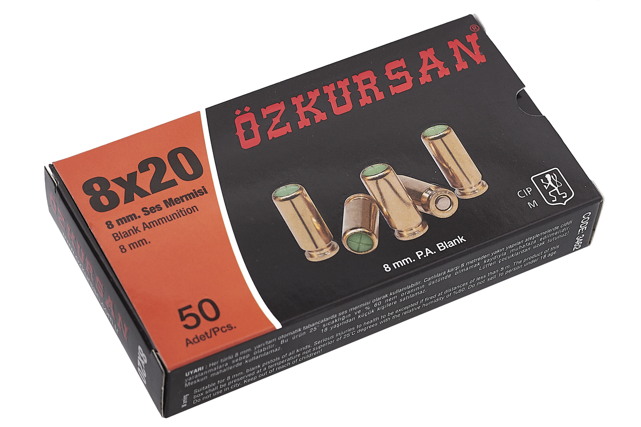 Патроны холостые 8мм Ozkursan для стартового, сигнального, шумового, травматического, газового пистолета(50шт)