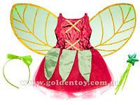 """Детский карнавальный костюм """"Фея цветов"""" (терилен+сатин) S/M (110-130см), платье/крылья/гол.убор/волшебная пал"""