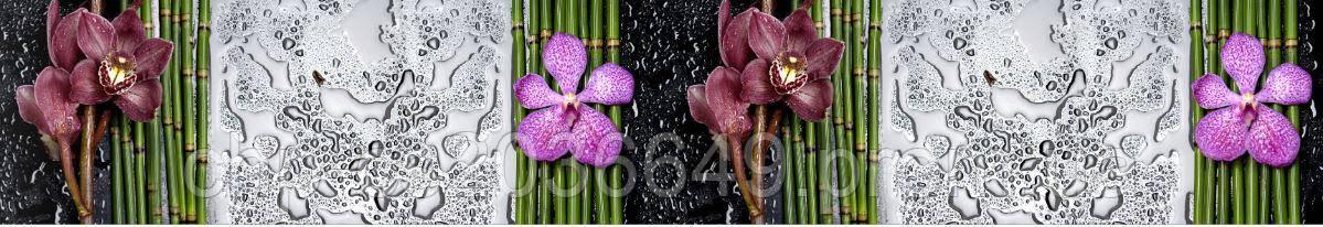 Стеклянный фартук для кухни - скинали Орхидеи  бамбук