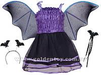 """Детский карнавальный костюм """"Летучая мышь"""" S/M (110-130см), платье/крылья/гол.убор/волшебная палочка"""