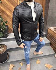 Мужская кожаная куртка\кожанка Slim Fit 5 размеров, фото 2
