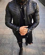 Мужская кожаная куртка\кожанка Slim Fit 5 размеров, фото 3