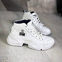 Зимние кожаные спортивные ботинки 36-40 р  белый, фото 1