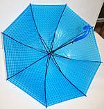 Детский голубой силиконовый 3D зонт-трость фирмы Fiaba на 8 спиц, фото 2