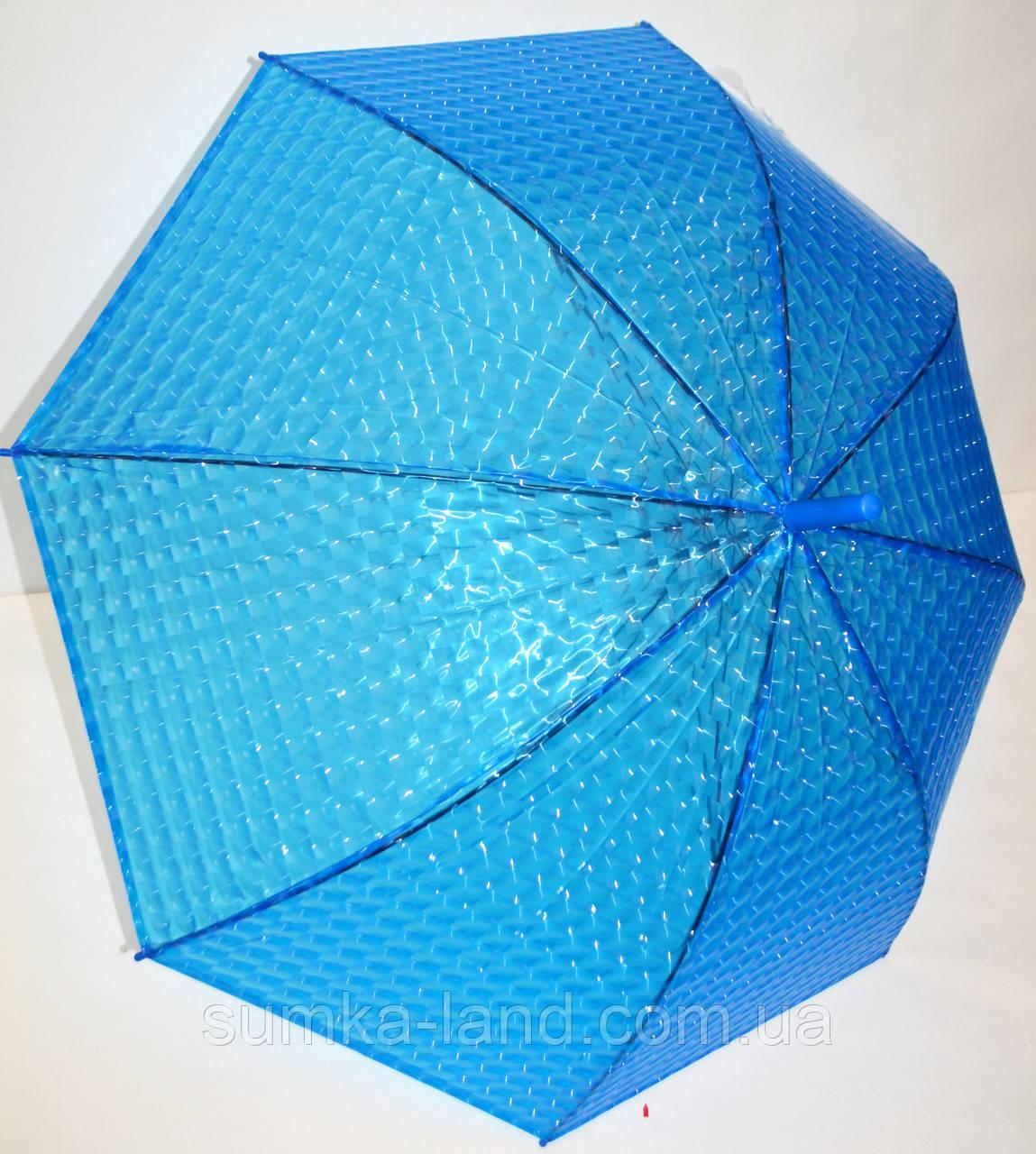 Детский голубой силиконовый 3D зонт-трость фирмы Fiaba на 8 спиц
