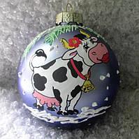 "Шар новогодний ёлочный, символ года 85 мм ""Влюбленная корова"""