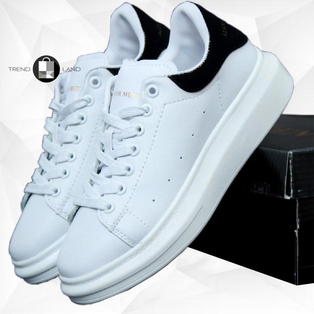 Мужские кроссовки в стиле Alexander McQueen Leather White\Black