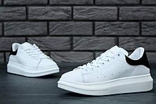 Мужские кроссовки в стиле Alexander McQueen Leather White\Black, фото 3