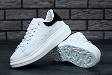 Мужские кроссовки в стиле Alexander McQueen Leather White\Black, фото 2