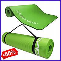 Спортивный коврик йога мат SportVida Nbr 1 см Green для фитнеса, йоги, аэробики гимнастический каучуковый