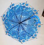 Детский силиконовый зонт-трость фирмы Fiaba на 8 спиц, прозрачный с салатовыми листьями, фото 2