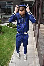 Мужской спортивный костюм в клетку с капюшоном+штаны Scot Green Синий, фото 2