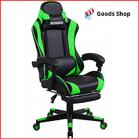 Кресло геймерское Bonro B-2013-1 игровое компьютерное офисное раскладное мягкое c подставкой для ног зеленое