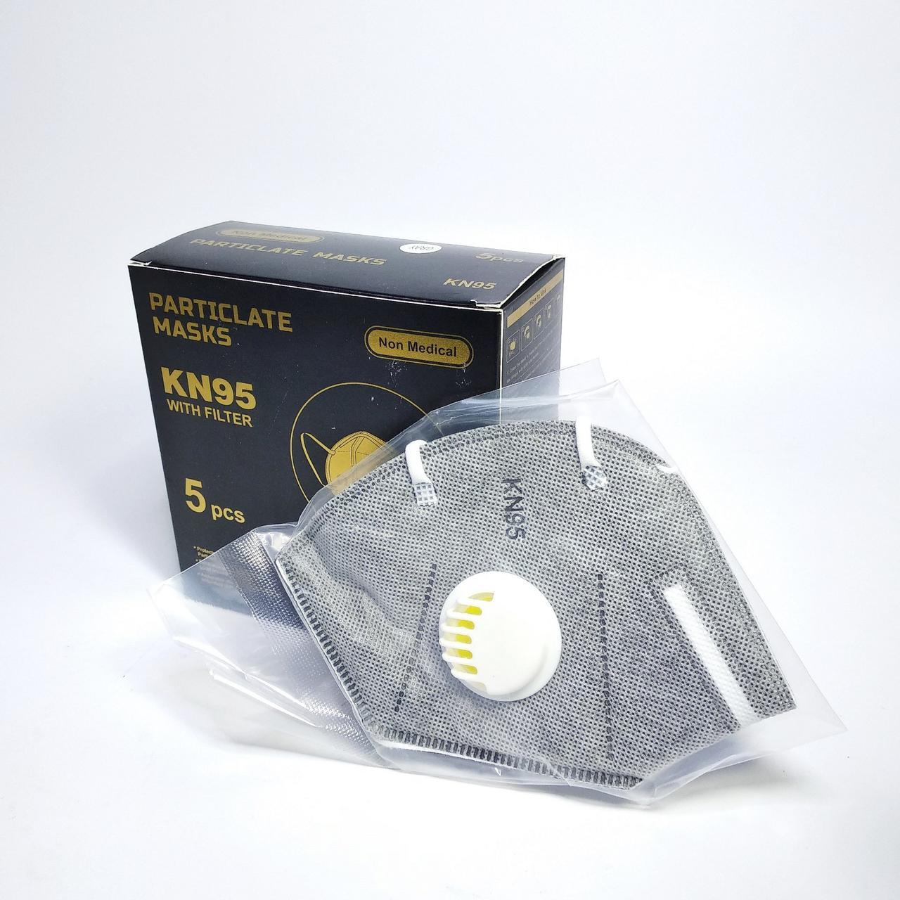 Багаторазова маска-респіратор KN 95 універсальна з вугільним фільтром, сіра (1шт)
